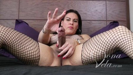 Mona Vela - Big cock shemale masturbation