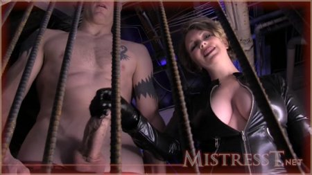 Mistress T : Cum Meal for Caged Slave